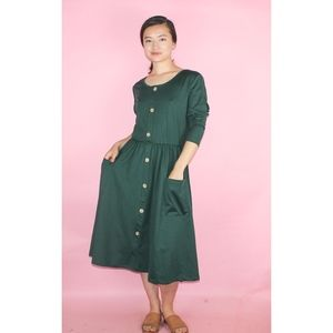 (512) Forest Green Button Front Dress